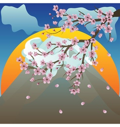 Branch of Sakura and Volcano2 vector image