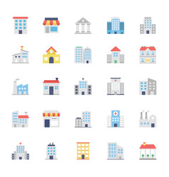 Buildings colored icons set 1 vector