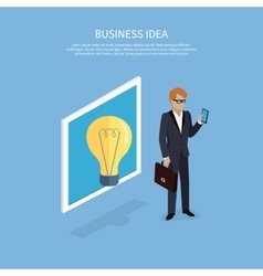 Business Idea Man with Smartphone Design Flat vector