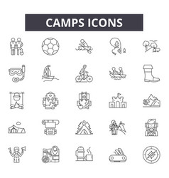 camps line icons for web and mobile design vector image