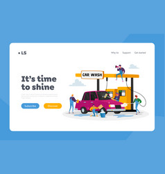 car wash service landing page template workers vector image