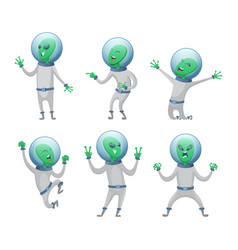 cartoon aliens in various action poses vector image