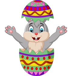 Cartoon bunny come out from an easter egg vector