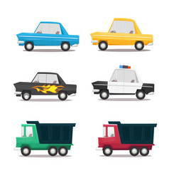 cartoon car icon set vector image