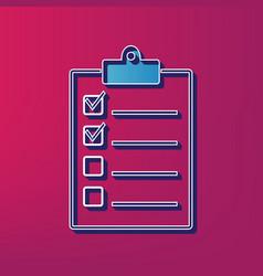 checklist sign blue 3d vector image