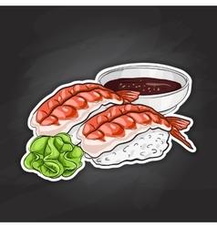 color sticker Ebi Nigiri Sushi vector image