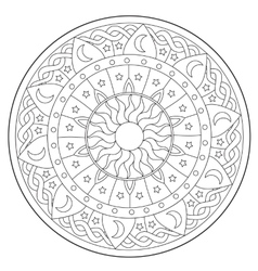 Coloring Space Round Ornament vector