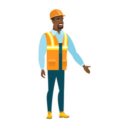 constructor with arm out in a welcoming gesture vector image
