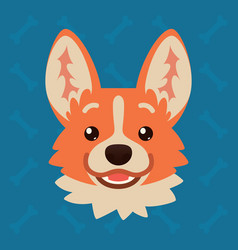 corgi dog emotional head of vector image vector image