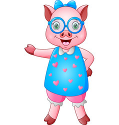 Cute cartoon female pig in blue heart dress with g vector
