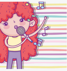 Cute girl with curly hairstyle and singing music vector