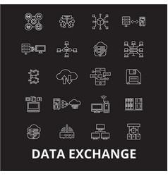 data exchange editable line icons set on vector image