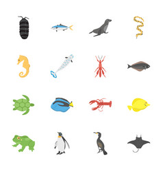 deep sea creature flat icons vector image