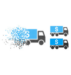 Disappearing dot halftone money delivery icon vector