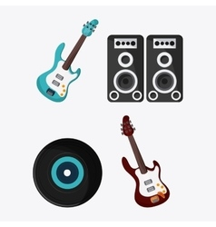 Electric guitar speaker vinyl music icon vector
