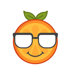 Emoji - smart smiling orange with glasses vector