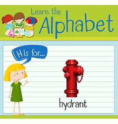 Flashcard letter H is for hydrant vector