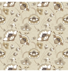 Floral seamless pattern in beige color vector