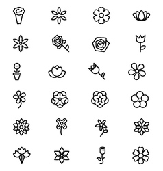 Flowers and Floral Line Icons 3 vector image