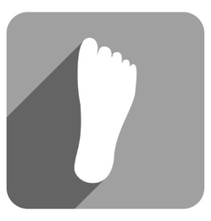 Foot Sole Flat Square Icon with Long Shadow vector image