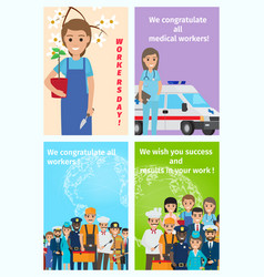 Four color congratulatory cards for all workers vector