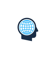 globe human head logo icon design vector image