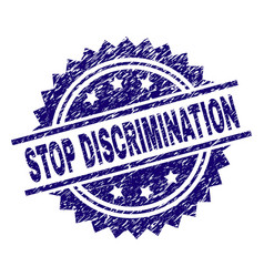 Grunge textured stop discrimination stamp seal vector