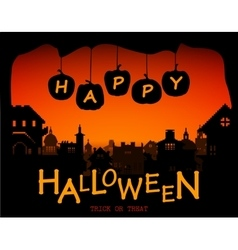 Halloween design pumpkins and houses Horror vector image