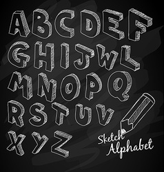 Hand drawn 3d sketch alphabet over a chalkboard vector
