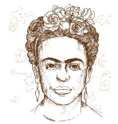 Hand drawn portrait frida kahloi vector