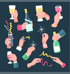 hands holding holiday and festive objects on party vector image