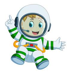 happy boy in astronaut costume vector image