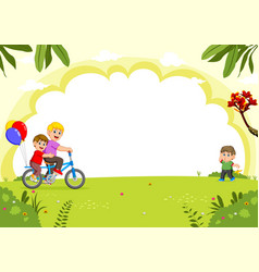 happy family cycling in the city park vector image
