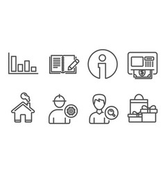 Histogram search people and engineer icons atm vector
