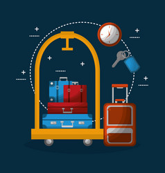 Hotel luggage trolley stacked suitcases bag clock vector