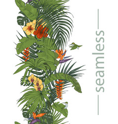Hummingbirds and tropical flowers and leaves seaml vector