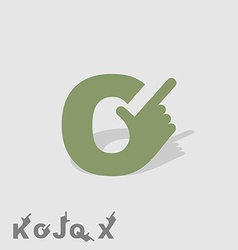 Letter c logo letters with a hand finger pointing vector