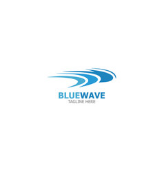 logo template blue wave vector image