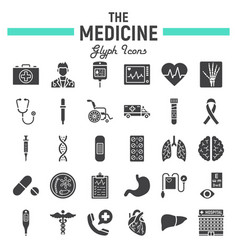 medicine glyph icon set medical signs collection vector image