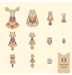 Meditative Animals icons vector image