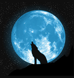 Moon view from ground howling wolf elements vector