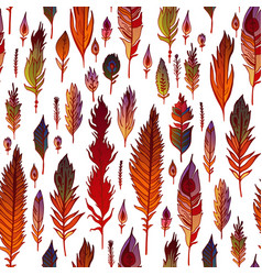 Multicolored feathers seamless pattern vector