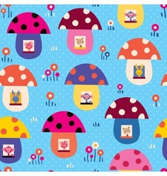 Mushroom houses kids pattern vector