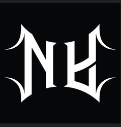 Ny logo monogram with abstract shape design vector