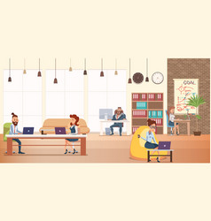 office character work at modern creative coworking vector image