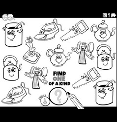 one a kind game with objects coloring book page vector image