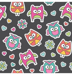 pattern cartoon owls vector image