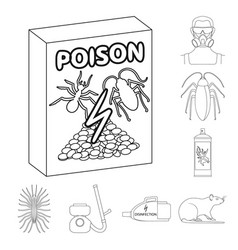 Pest poison personnel and equipment outline vector