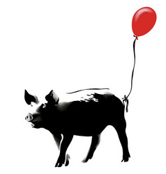 pig with red balloon vector image
