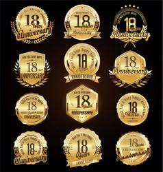 Retro vintage anniversary golden badges vector